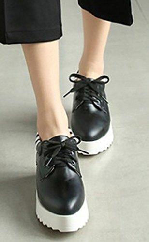 Aisun Femme Mode Bout Pointu à Lacets Baskets Noir