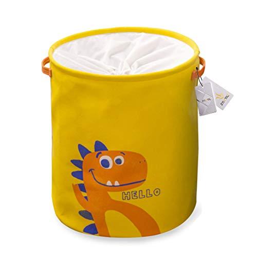 Znvmi Aufbewahrungskorb Faltbare Stoff Wäschekorb Baby Spielzeug Lagerung Körbe Kinderzimmer Aufbewahrungsbox mit Kordelzug - Dinosaurier Muster, Gelb -