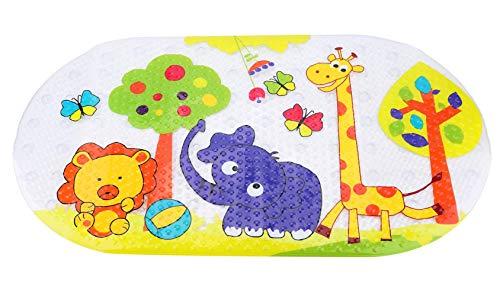 Tebery Badewannenmatte Baby Wanneneinlage Schön Zoo Suckers Antirutschmatte Schönen Optik Anti-Rutsch Badematte Karikatur Entwurf Massage Dusche Badematte für Kinder 38 x 70 cm