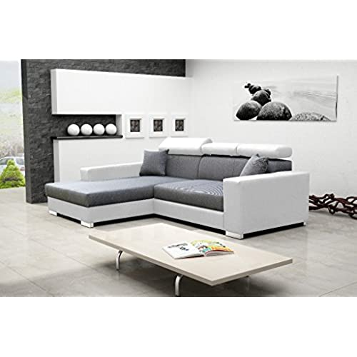 MEXICO DE LUX Corner Sofa Bed With Headrests * Brand New * Modern Design *  WHITE AND GREY