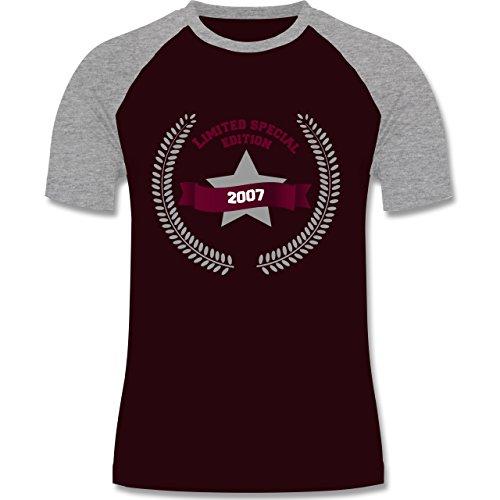 Geburtstag - 2007 Limited Special Edition - zweifarbiges Baseballshirt für Männer Burgundrot/Grau meliert