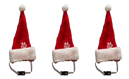 3 er Set Weihnachtsmütze Nikolausmütze für den Hund Katze Mütze Nikolausmütze Tier X55 (Hund Weihnachtsmütze)