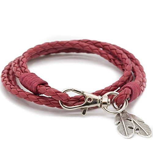 e966794fb0f3 MESE London Brazalete De Tejido De Vikingo Rojo Colgante De Cuerda Trenzada  De Plumas Tribal