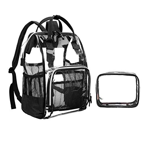 LOKASS Mochila transparente mujer,Eastsport Mochila Clara,Bolsa de cosméticos PVC Mochila Impermeable Transparente(Negro)