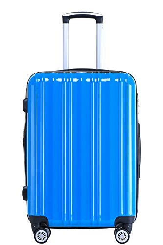 Münicase- Hartschalen Koffer Reisekoffer Trolley Rollkoffer Polycarbonat TSA-Schloß Kofferset Gepäckset (Türkis, Kleiner Koffer (ca.54cm)) - Expandable Trolley Case