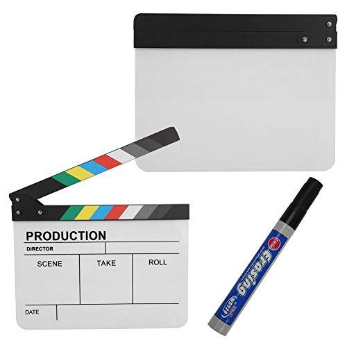 Topiky Clap Boards, Escena de Director de acrílico Clapperboard TV Película de acción Acción de Corte de película Prop con lápiz para Accesorios de fotografía/Publicidad/Decoración del hogar(Color)