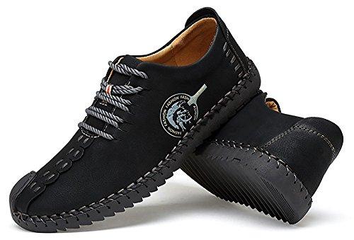 Huateng Britisches Retro Freizeitschuhe Mikrofaser Obere Gummisohle Abriebfeste Atmungsaktive Mode Peas Schuhe Männer Business-Schuhe Schwarz