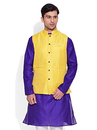 Very Me Men's Designer Lemon Faux Silk Textured Nehru Jacket Size:- 46 / Xxxl  available at amazon for Rs.999
