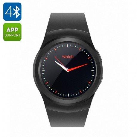 N º 1 G3 elegante teléfono reloj - BT4.0, Pulsómetro, podómetro, Anti perdida, ranura para SIM GSM, iOS + Android App (negro)