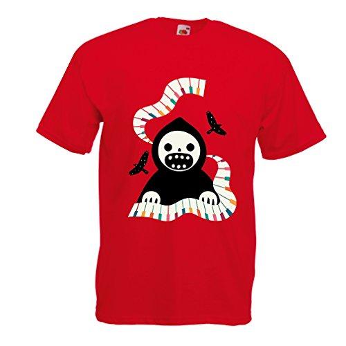 Männer T-Shirt Halloween horror nights - The Death is playing on piano - cool scarry design (Medium Rot - Nights Voodoo Horror Halloween