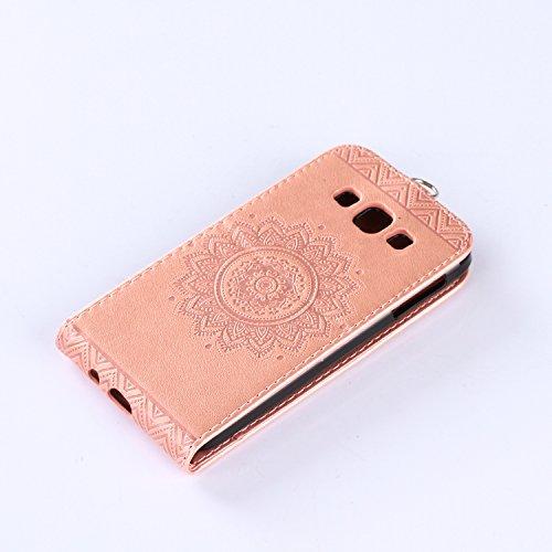 Samsung Galaxy A3 2015 Hülle Leder Tasche Flip Cover Galaxy A3 2015 Wallet Case Alfort Stilvoll Handycover Braun Mandala Blumen Muster PU Ledercase Brieftasche Handyhülle für Samsung Galaxy A3 (2015)  Rose Gold