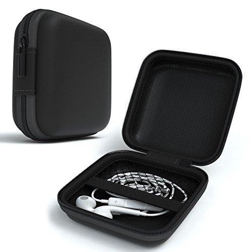 EAZY CASE Universal Tasche für In-Ear Kopfhörer mit Netzfach - Hardcase Aufbewahrungsbox, Schutztasche mit umlaufenden Reißverschluss, extra klein, eckig, Schwarz thumbnail
