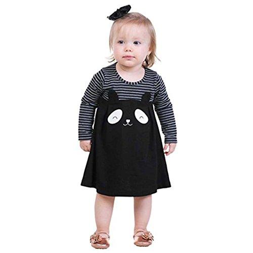 squarex Kleinkind Kinder Mädchen niedlich Panda-Kleid, gestreift, Langarm Sundress, Kinder, Schwarz, 6-12 Monate