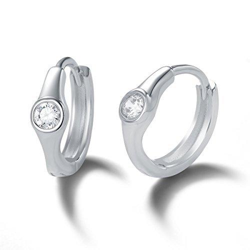Boucles d'oreilles Créole Rondes en Argent Sterling 925 Serties Or Blanc Plaqué avec Zircone Cubique pour Femmes