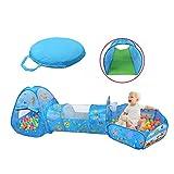 FJY Tende Gioco Con Tunnel Per Bambini, Tent Pool Per Bambini,Interno/Esterno Tunnel Gioco e Play Tent, Cerniera Borsa+Ball Pool +Tunnel (Sfere Non Inclusa) C2, ocean
