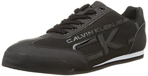 Calvin Klein Cale Matte Smooth/Patent- Sneaker basse uomo, colore Nero (Nero), taglia 43 EU (9 UK)