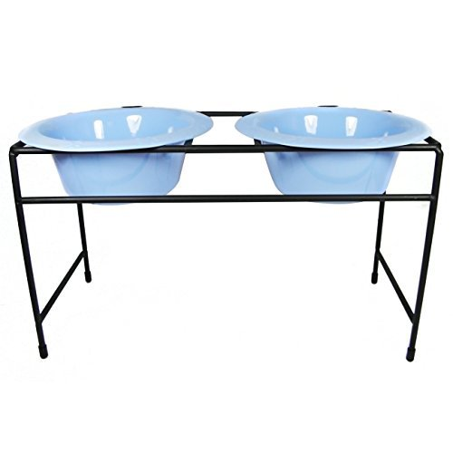 Platinum Pets Modern Double Diner Stand with 2-Cup Wide Rimmed Bowls, Sky Blue by Platinum Pets Rimmed Bowl