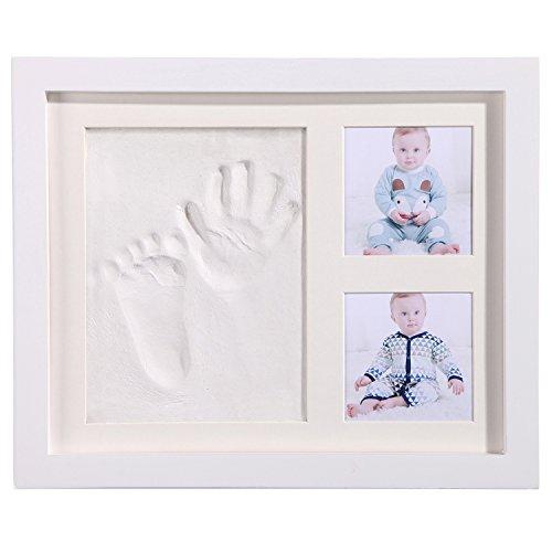 Geschenke für Babyandenken, PChero Rahmenset für Babyhand und Fußabdrücke mit sicherem Akrylglas und Ton - Weiß