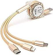 كابل شحن USB متعدد متعدد متعدد 3 في 1 قابل للسحب متعدد مع موصلات منفذ USB صغيرة من النوع C متوافق مع الأجهزة اللوحية للهواتف