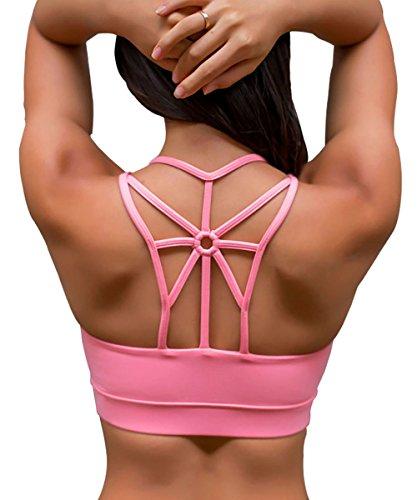 YIANNA Frauen Kabellos Füllung BHS Bewegung Yoga Sport-BH drahtloses weiches bequemes T-Shirt,UK-YA-BRA139-Pink-2XL