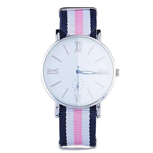 Nylonuhr, Frauen Mann Unisexgestreifte Quarzbewegungs analoge runde Vorwahlknopf Armbanduhr Uhr(5 Stripes-01)