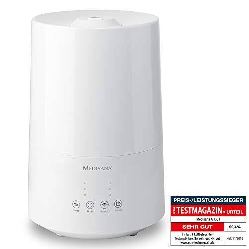 Medisana AH 661 Luftbefeuchter Ultraschall, Luftreiniger für Schlafzimmer und Wohnzimmer, Vernebler mit Aromafach und Heizfunktion gegen trockene Luft, 3,5 L