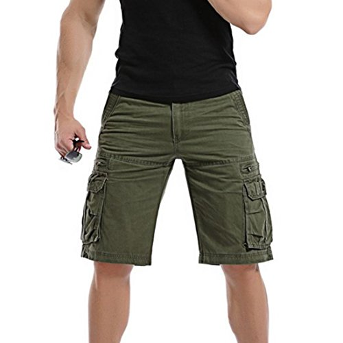GreatestPAK Pants Pure Color Shorts Herren Outdoor Taschen Strand Arbeit Hosen Cargo Pant,33(L),Armeegrün