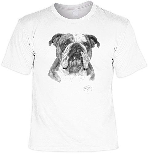 Hunde Shirt/ T-Shirt mit Dog Aufdruck: Bulldogge - tolles Tier-Motiv für Hundefreunde Weiß