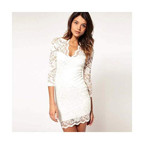 TRFLH& Sexy Dress Evening Plus Size V-Neck Slim Long Sleeve Pack Hip Female Party Dress Lace Short Mini Black Women Dresses White L Jovani Homecoming