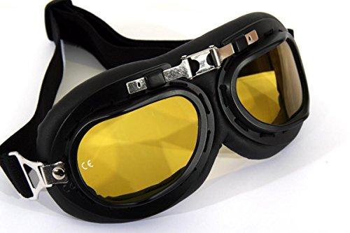 Qubeat Motorradbrille Classic, schwarz mit gelb getönten Gläsern und schwarzem Rahmen