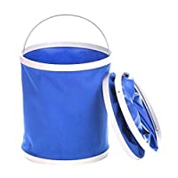 9L Collapsible Bucket, No Leakage Car Wash Bucket, Multi-function Outdoor Portable Folding Pail Fishing Cleaning Water Container for Hiking Camping House Working, Blue