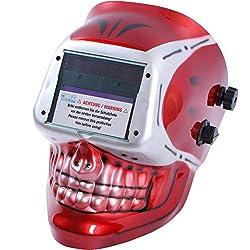 CCLIFE Automatik Schweißhelm Schweißmaske Schweißschirm, Farbe:Weiß+Rot