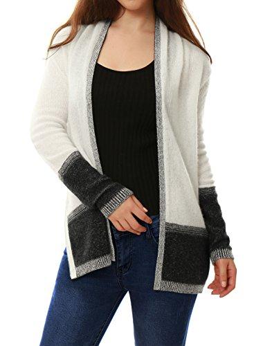 Allegra K Damen Kaschmir Kontrast Farbe geflochten Cardigan Sweater, White/L (Geflochtener Cardigan)