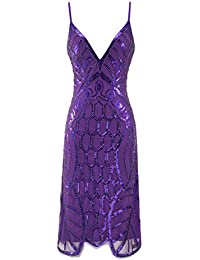 Metme Womens Deep V Neck Sexy Straps Party Dress Sequin Evening Prom Club