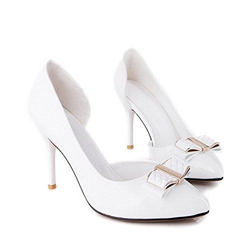 AllhqFashion Femme Tire Pointu Stylet Verni Couleur Unie Chaussures Légeres Blanc
