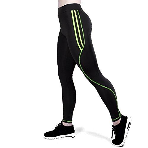 GoVIA Leggings Donne pantaloni di corsa Mesh con inserti in rete Fitness Yoga pantaloncini sportivi 4101 Verde