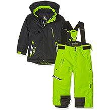 Peak Mountain Ecosmic - Conjunto de esquí para niño, Niño, color Noir/Vert Lime, tamaño 5 Años (Talla del fabricante : 5 Años)