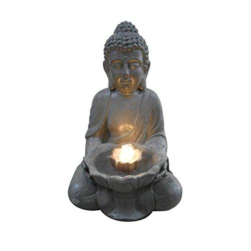 HOMEA 5FTN074 Fontaine Bouddha Lotus, Béton/Fibre de Verre, Gris, 29,5 x 28 x 45 cm