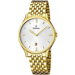 Festina F16746/1 - Reloj de pulsera hombre, acero inoxidable chapado, color dorado