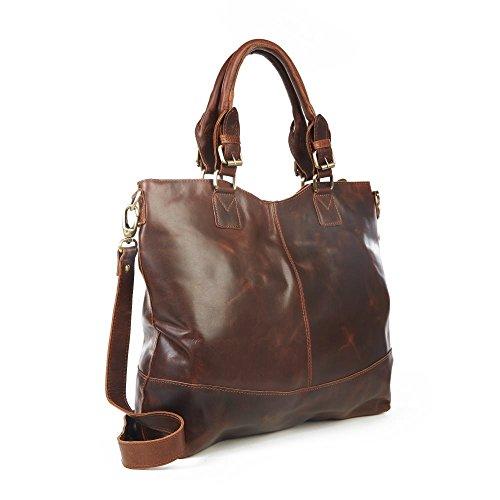 The Leather Store, Borsa tote donna Marrone marrone Marrone antico