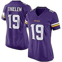 Minnesota Vikings Equipo, Rugby Jersey de Las Mujeres, 19 Thielen Tech Transpirable de algodón Camiseta del Jersey, Grandes Muchachos Pro Rugby Traje (Color : Purple, Size : M)