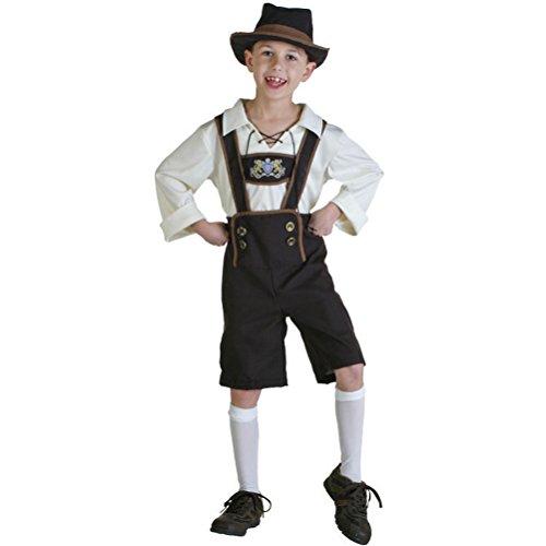 LAEMILIA Kinder Dirndl Trachtenkleid Oktoberfest Mädchen Jungen Set Bluse Schürze Kindertag Kurzarm Uniform Partykleid Cosplay Kostüm