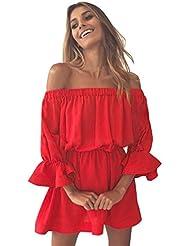 Ularma Damen Off-Shoulder Flare Sleeve Kurz Kleid Freitzeit Urlaub Sommer Kleid