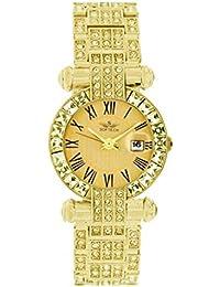 05e09f630ef Softech Women s Metal Gold with Gold Face Diamante Bracelet Wrist Watch  Analog Quartz Fold-Over Clasp Extra…