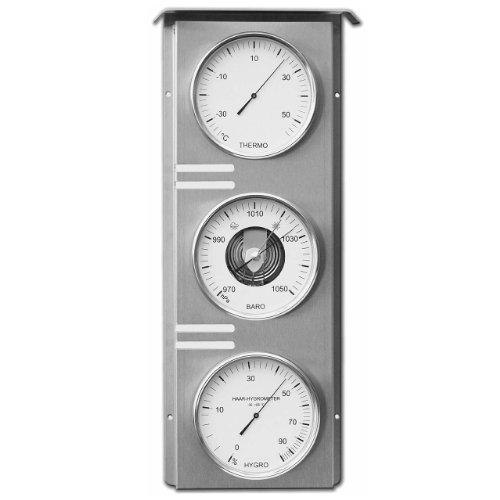 Fischer 823-01 Außenwetterstation aus Edelstahl, Thermometer-Barometer-Echthaar Hygrometer, 510 x 215 mm