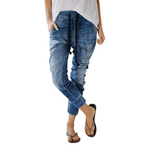NPRADLA Damen Elastischer Bund Tunnelzug Jeans Taschen Cowboy Skinny Hipster Casual Denim Baggy Harem Lange Hosen Damen Distress Hose(2XL,Blau) -