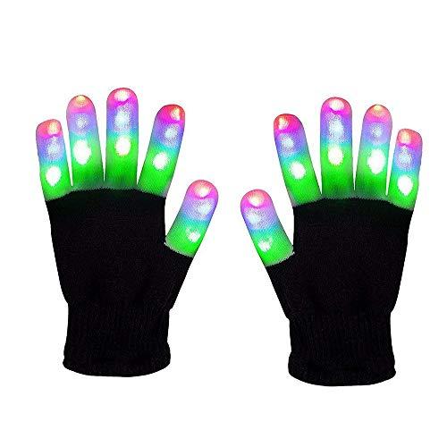 WISHBB leucht Handschuhe, LED leuchtende Handschuhe Spielzeuge Gloves Tanzen blinkende Bunte Finger Kostüm Beleuchtung Geschenk für Mädchen Junge (Mehrfarbig 2) (Halloween-kostüm Jungen 1-jahr-alten Beste)