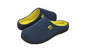 RockDove - Pantofola da uomo in memory foam bicolore, 46/47 EU, Blunavyegiallo