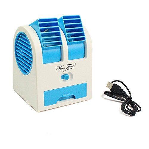 Xhaiden Mini Fan & Portable Dual Bladeless Small Air Conditioner Water Air Cooler Powered by USB & Battery Use of Car/Home/Office