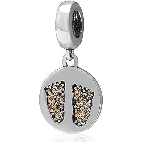 Soulbead piedi di bambino Jonquil cristalli ciondolo in argento Sterling 925, perline per Bracciale o